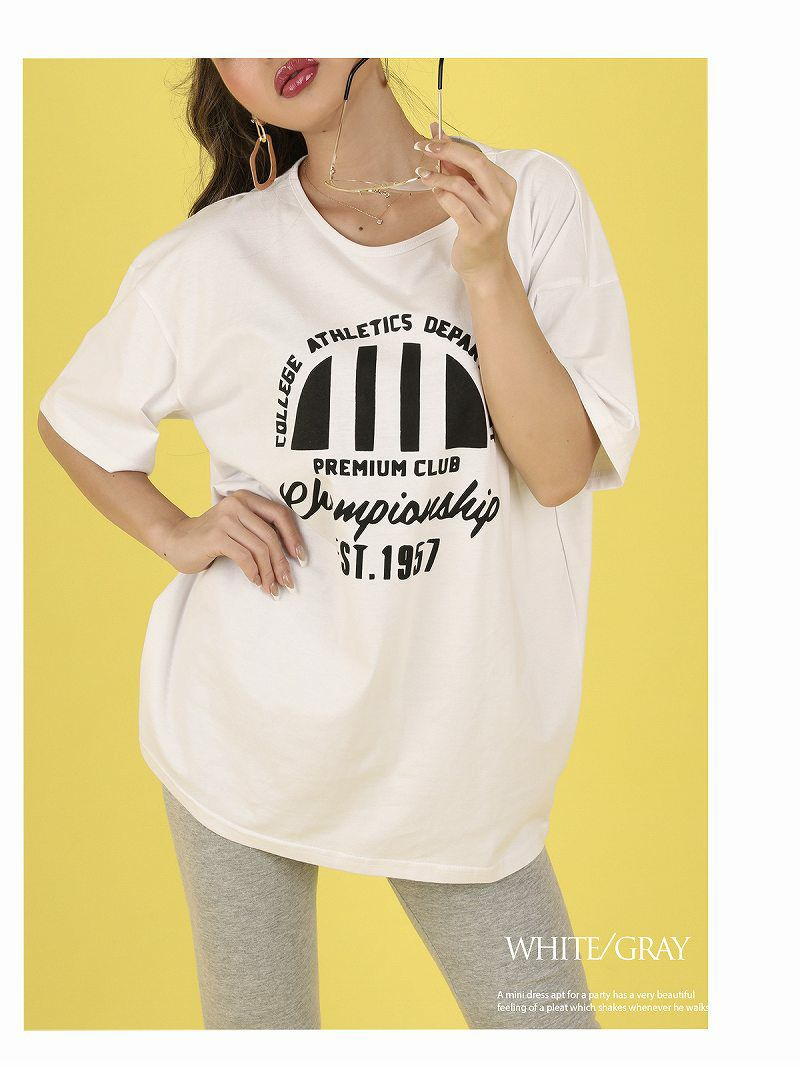 Uネックプリント半袖Tシャツ×リブパンツセットアップ【bombshell/ボムシェル】