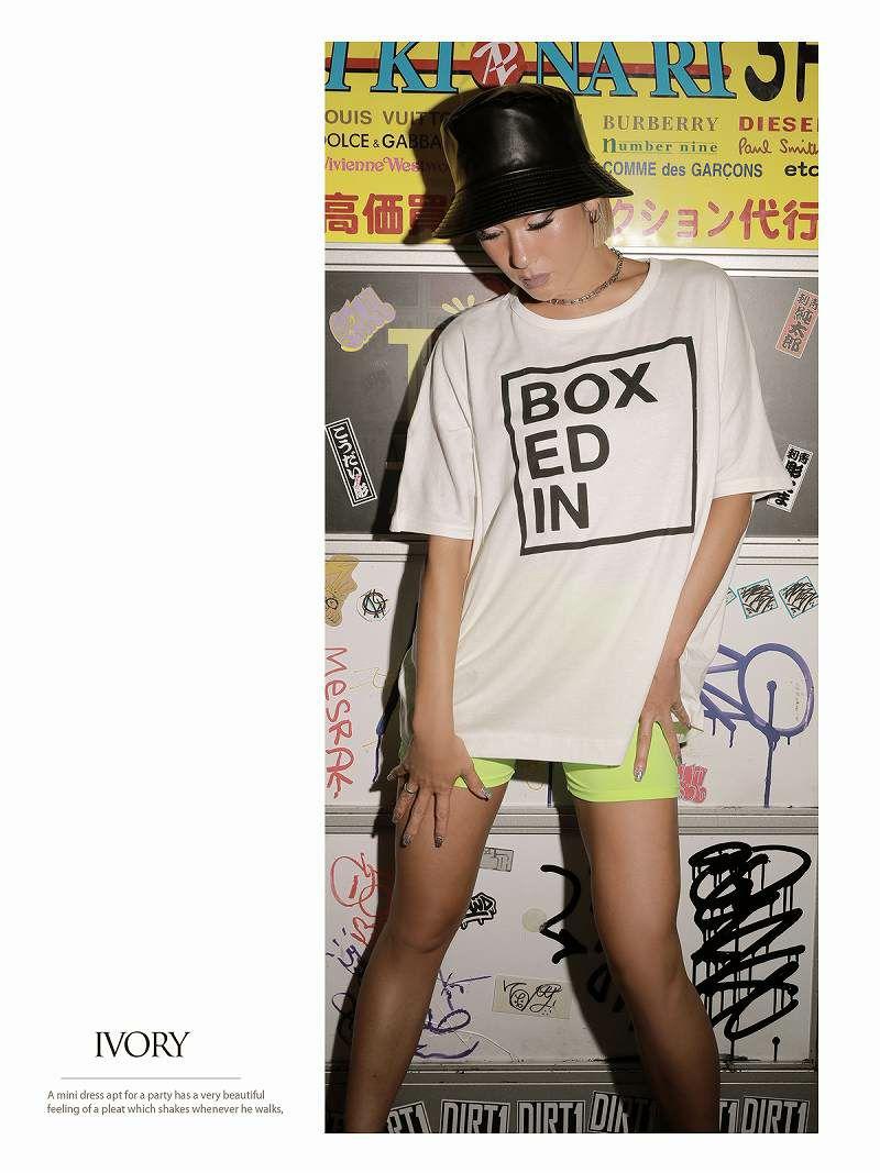 英字プリントデザインオーバーサイズTシャツ【bombshell/ボムシェル】