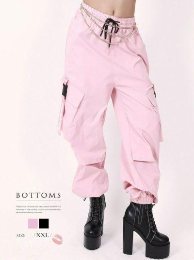 ロゴストラップ裾ゴム入りカーゴパンツ【ダンス衣装通販bombshell/ボムシェル】