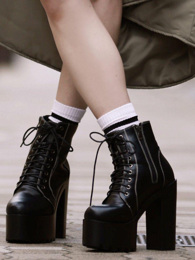 14cmヒールフェイクレザーのショート丈レースアップ厚底ブーツ【ダンス衣装通販bombshell/ボムシェル】